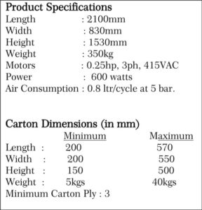 Automatic Carton Sealing Machine - 5FAM-HS Specifications - SRIPL